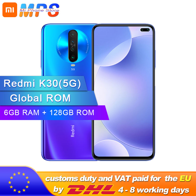 "Global ROM Original Xiaomi Redmi K30 5G 6GB 128GB Snapdragon 765G Octa Core Smartphone 6.67"" 64MP Quad Rear Camera 4500mAh"