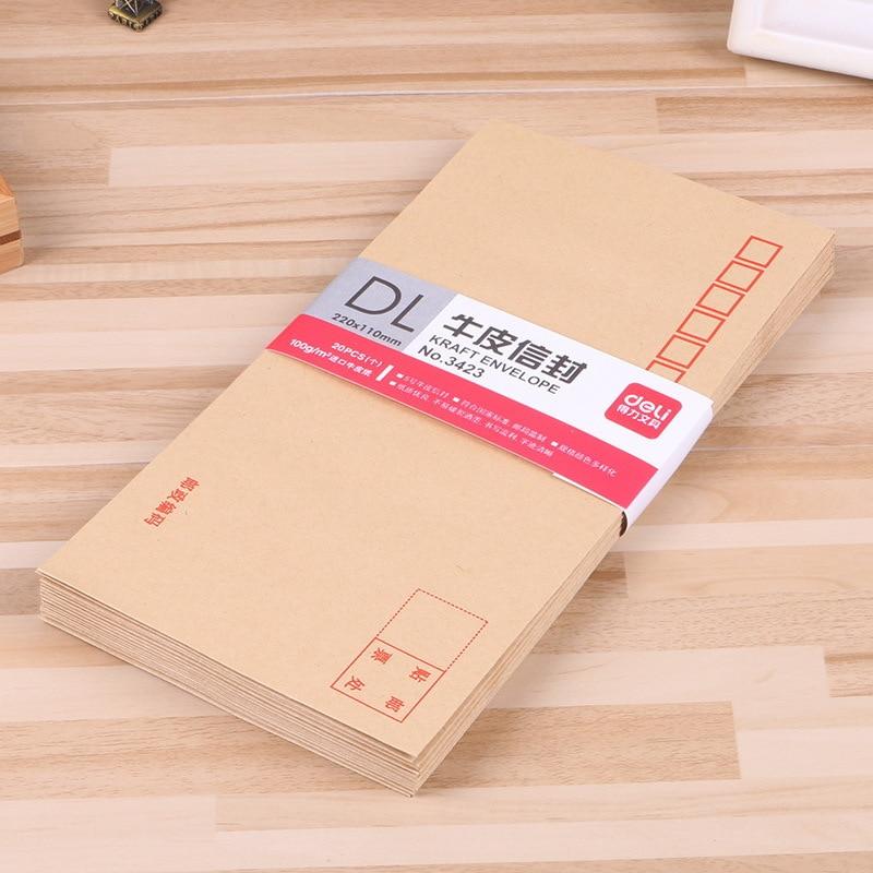 Deli Stationery Genuine Product 3423 International Envelope Thick Type Standard 20 PCs Kraftpaper Postage Envelope Special Offer