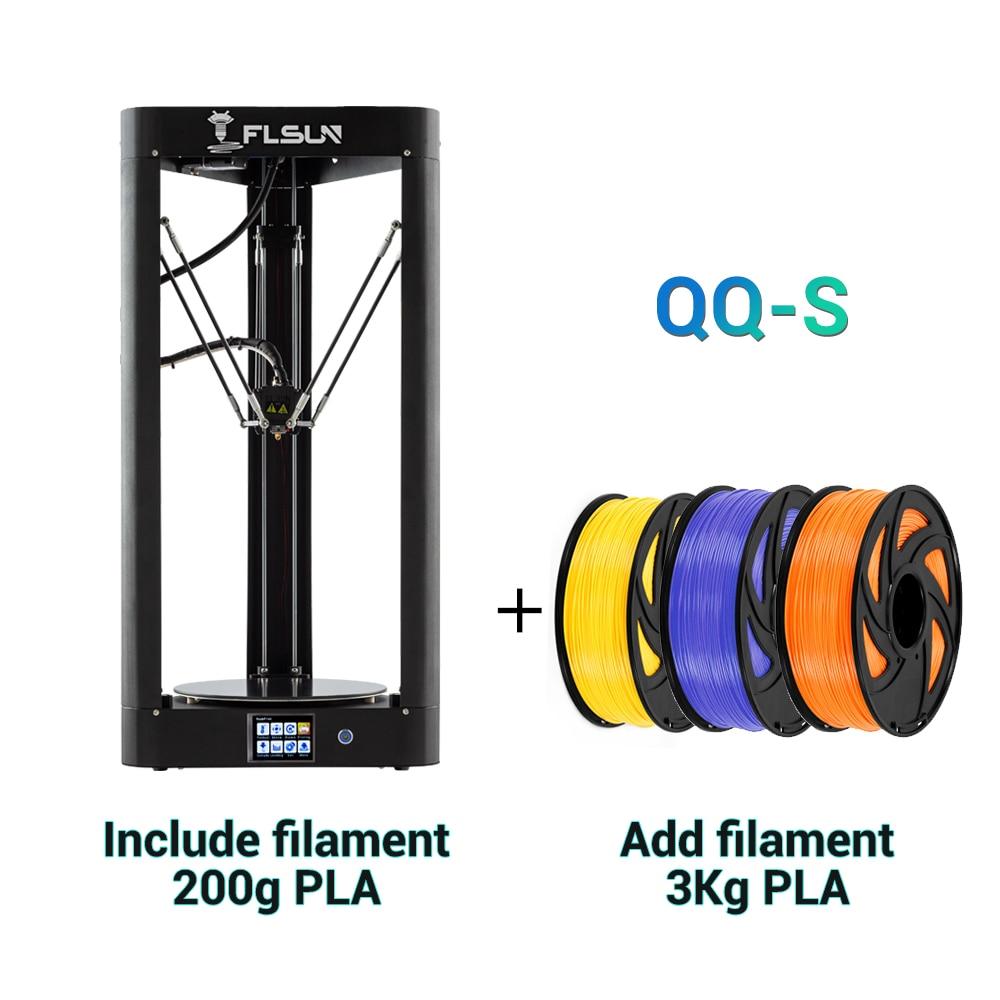 Flsun QQ-S 2019 impressora delta 3d de alta velocidade, grande tamanho mais 255*360mm kossel 3d-impressora atualizar tela de toque de nivelamento automático