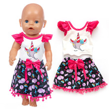 цена Fit 18 inch 43cm American Born New Baby Girl Doll Clothes Black Red Unicorn Suit For Baby Birthday Gift онлайн в 2017 году