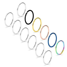 12PCS Non Pierced Stainless Steel Clip on Closure Round Ring