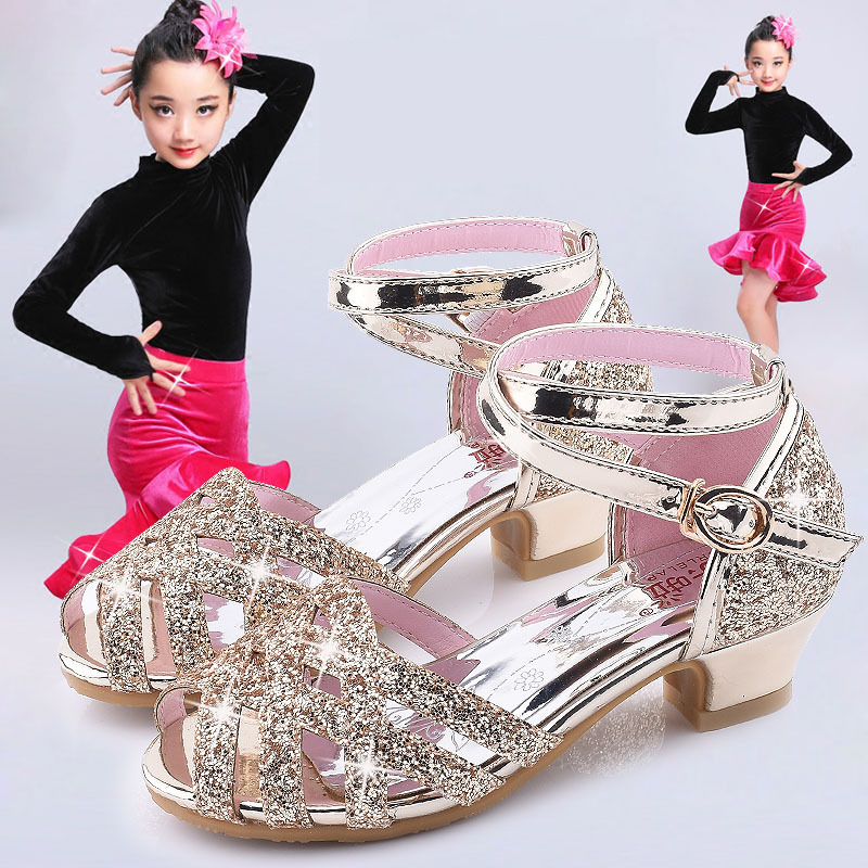 Princess Kids Leather Shoes For Girls High Heel Glitter Shiny Rhinestone Female Party Dress Shoes Breathable Non-Slip Sandals