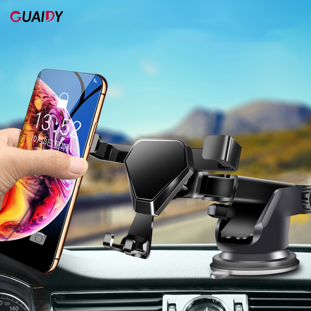 Telescopic Car Phone Holder Gravity Sensing Air Outlet Clip Sucker 210 Degree Rotation Adjustment Universal For IPhone XR XS Max