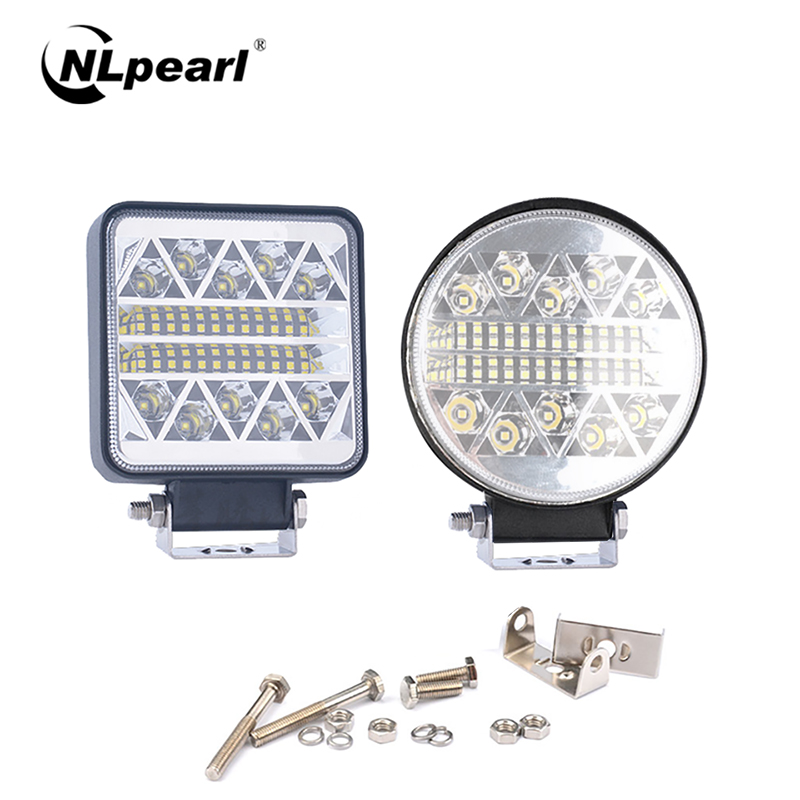 NLpearl Light Bar/Work Light 4.3 Inch 102W 32LED Work Light Round Square Spotlight Bar For Car SUV Off-Road Driving Lamp White