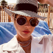 FENCHI-gafas de sol redondas para mujer, anteojos de sol femeninos de moda, color rosa, degradados, Zonnenbrillen Dames, 2021