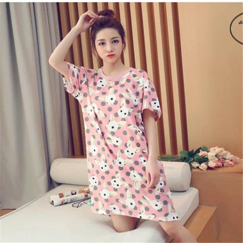 Summer Women Cartoon Sleepwear Leisure Short Sleeve Nightgowns Printing Clothes Nightdress Casual Rabbit Pink Cute Nighty Dress