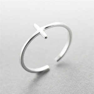 Image 2 - New 925 Sterling Silver simple leaf/cross ring female small fresh leaf rings adjustable forefinger fashion silver 925 jewelry