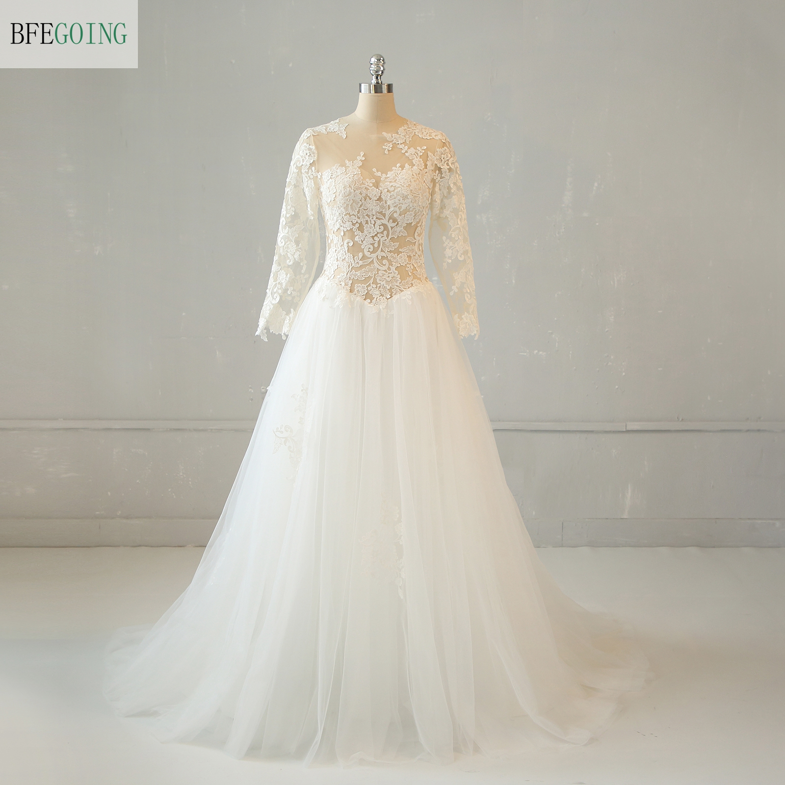 Ivory Tulle Lace Appliques Long Sleeves Floor-length A-line Wedding Gown Bridal Dress Chapel Train Custom Made