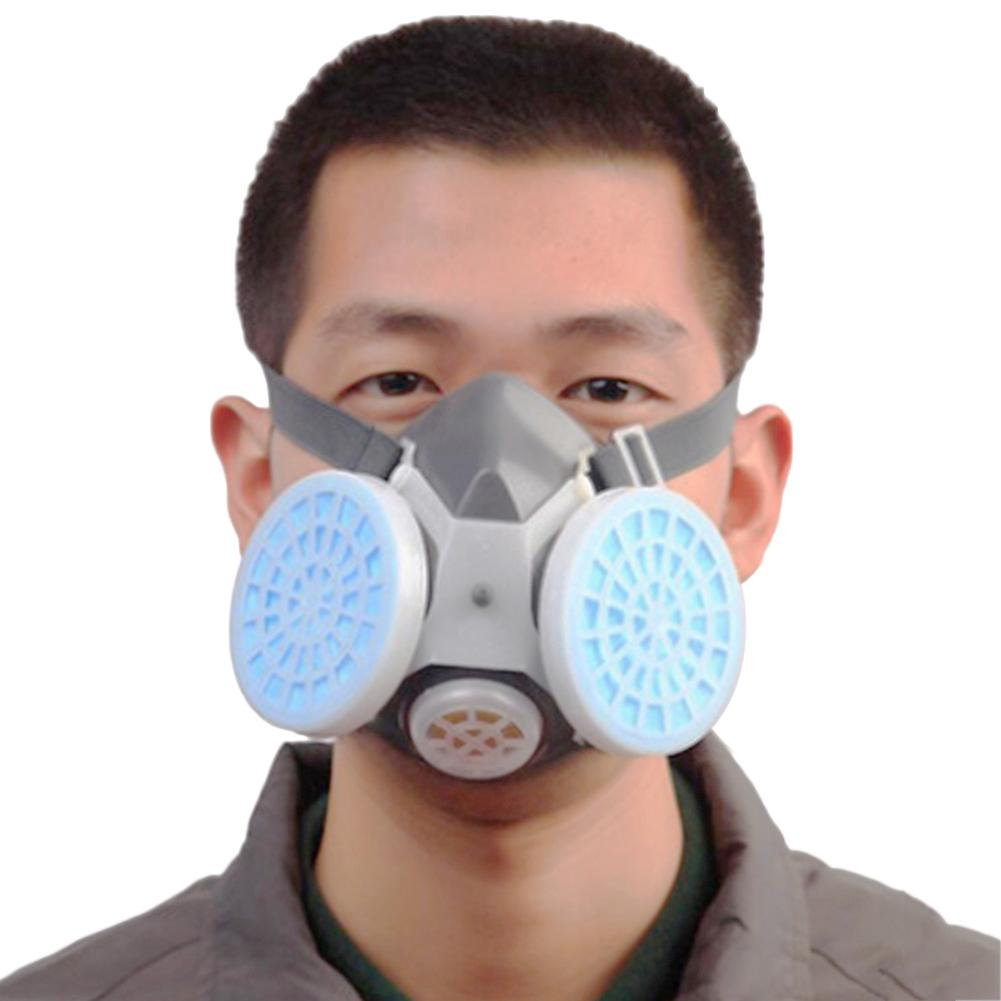 Half Face Gas Mask With Anti-fog Glasses Double Chemical Dust Mask Filter Breathing Respirators For Painting Spray Welding