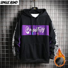 Singleroad hoodies de inverno dos homens moletom de lã masculino hip hop harajuk streetwear japonês preto hoodie moletom