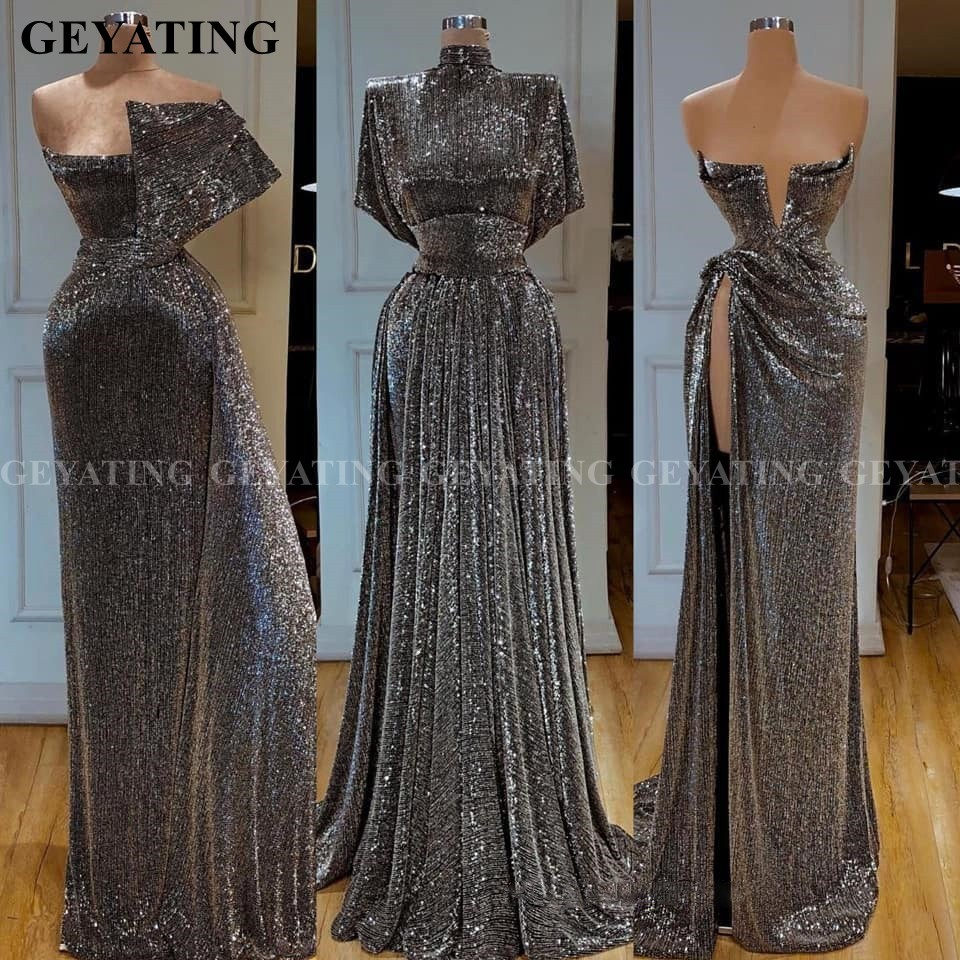 Dubai Gray Sequin One Shoulder Mermaid Evening Dress Long Sleeve High Slit African Prom Dresses High Neck Arabic Formal Gowns