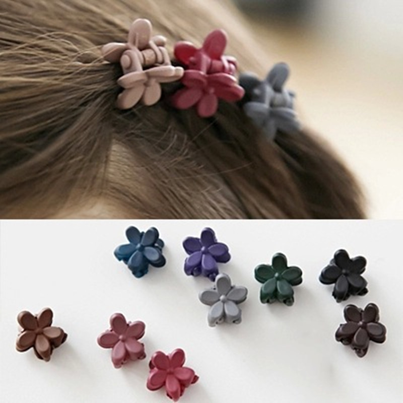 10/20PCS Random Color Cute Children Girls Hairpins Small Flowers Gripper 4 Claws Plastic Hair Clip Clamp Barrettes Hair Acces