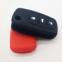Car Silicone Key Case, for Volkswagen Three Button Remote Control Folding Case Decoration Accessories