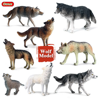 Oenux Simulation Savage Wild Animals Beast Wolf Miniature Figurines Wild Wolves PVC Model Action Figure Collection Toy Kids Gift