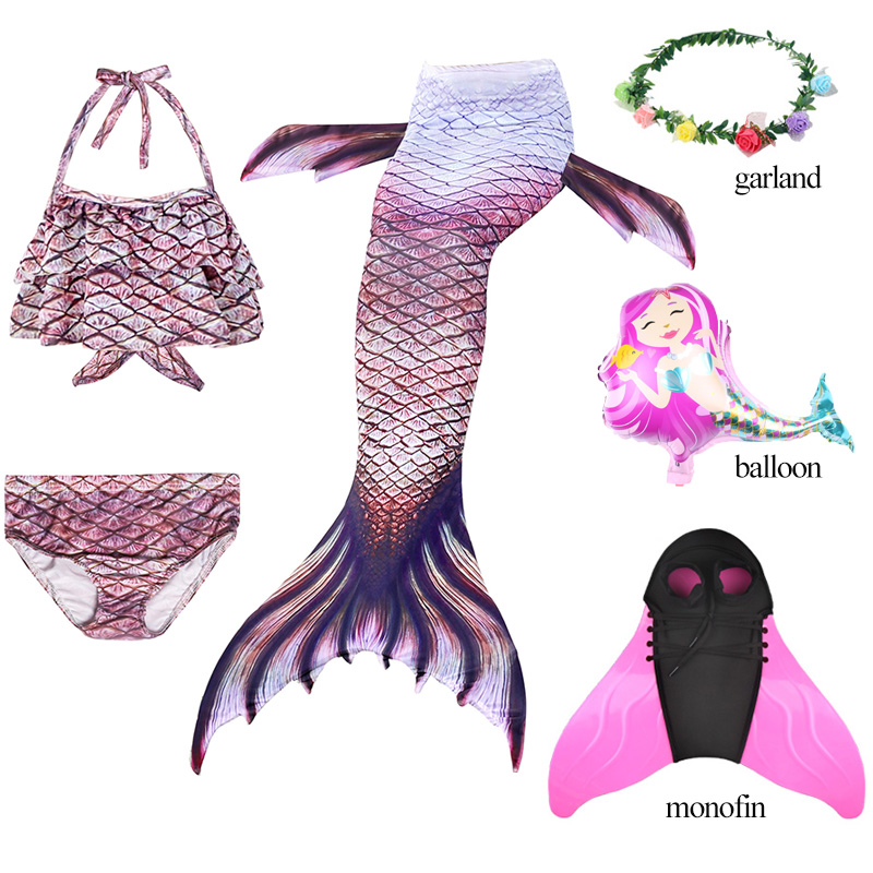 New Kids Girls Ariel Mermaid Tail Swimsuit With Flipper Monofin For Swim Mermaid Tail Costume Bikini Bathing Suit D74787CH