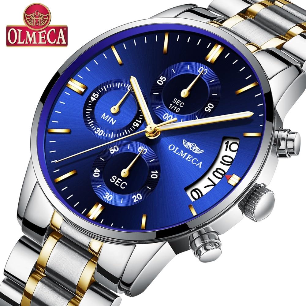 OLMECA Men Watches Luxury  Men's Fashion Stainless Steel Watch Military Waterproof Quartz Classic Chronograph Relogio Masculino