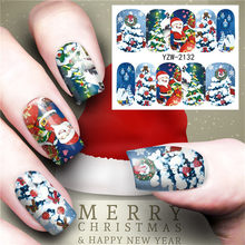 1pcs Christmas Series Nail Art Sticker Decal Hollow Watercolor Floral Designs Water Transfer Manicure Slider Decor(China)