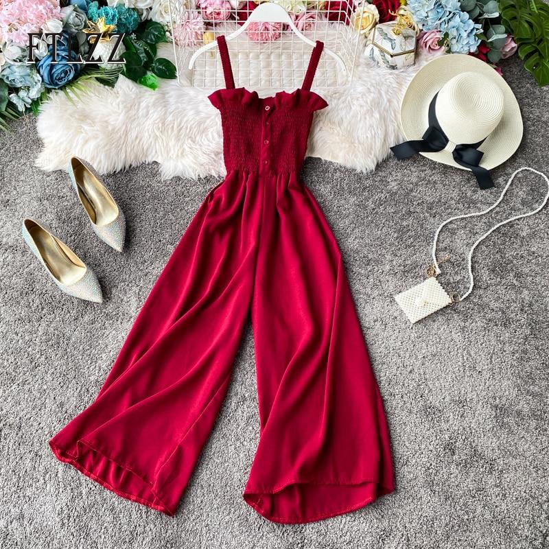 New Women Playsuits Fashion Spaghetti Strap Slim Sleeveless Ruffles Romper 2020 Summer Straight Pants Jumpsuits Casual Overalls