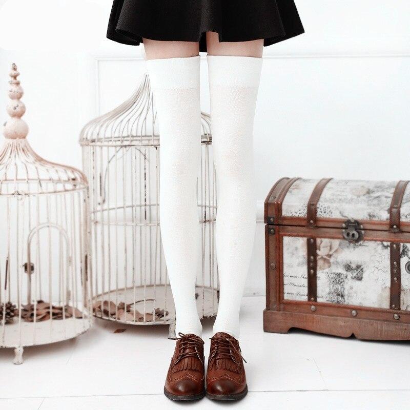 Гольфы Женские до бедра, высокие чулки черного и белого цвета, длинные чулки выше колена для школьниц, 6 цветов