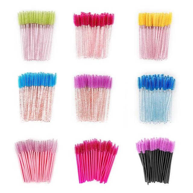 50PCS Disposable Eyebrow Eyelash Brushes Comb Eyelash Spoolies Lash Wands Makeup Brushes Mascara Wands for Eyelash Extensions 1