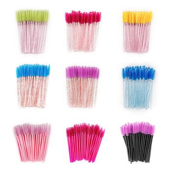 50PCS Disposable Eyebrow Eyelash Brushes Comb Eyelash Spoolies Lash Wands Makeup Brushes Mascara Wands for Eyelash Extensions недорого