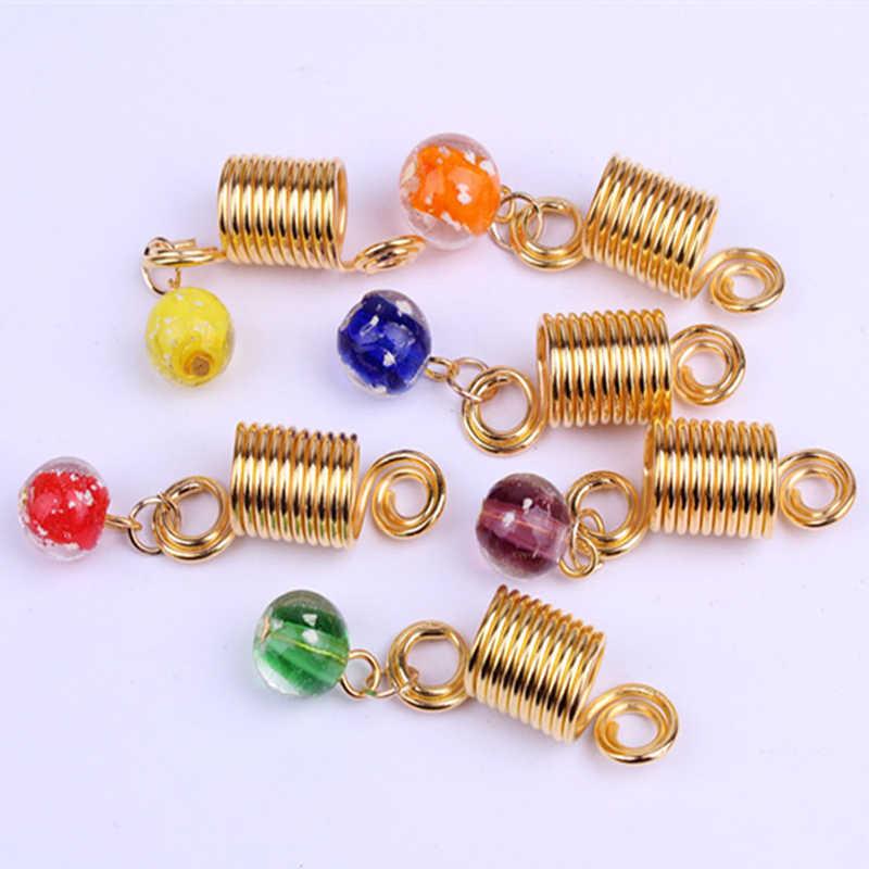 2 stks/paar Glazen Kralen Glow In The Dark Lichtgevende Dreadlock Pruik Kralen Haar Decoratie Gouden Ringen voor dreads haar Sieraden