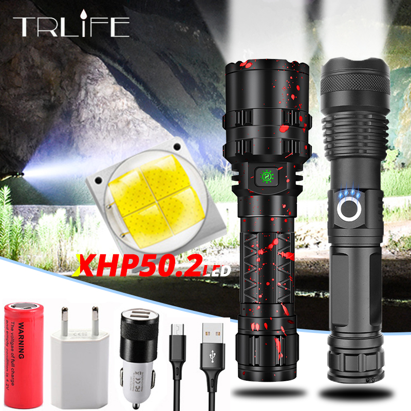 Profession Tactical LED Flashlight USB Rechargeable 18650 26650 Battery Torch Waterproof Hunting Light XHP50.2 Xlamp