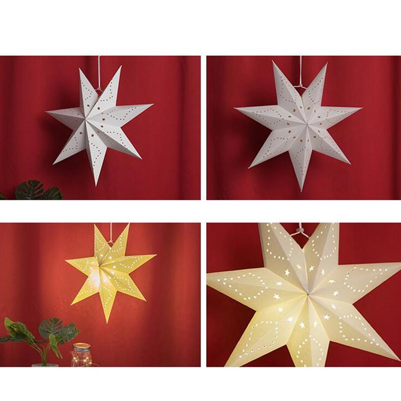 Hollow Out Paper Lantern Stars Shaped Lampshade Festival Hanging Decorations For Party Birthday Holiday (White)