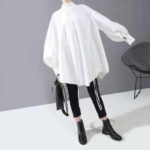 Image 4 - [EAM] Women Back Long Drawstring Big Size Blouse New Satnd Collar Long Sleeve Loose Fit Shirt Fashion Spring Autumn 2020 1N242