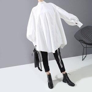Image 4 - [EAM] blusa de talla grande con cordón largo en la espalda para mujer, camisa holgada de manga larga con cuello de satélite, a la moda, para primavera y otoño, 2020, 1N242