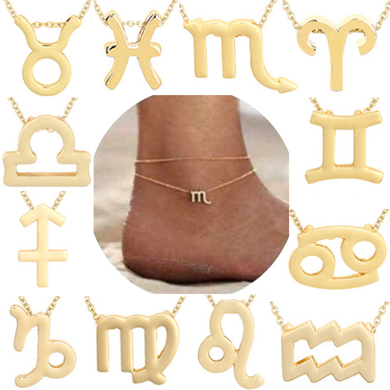 Todorova Multilayer 12 Constellation Zodiac Sign Anklets For Women Girl Gold Beach Ankle Bracelet On Leg Fashion Jewelry Gifts