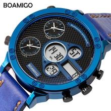 BOAMIGO Analog Watch Digital 3 Time Zone Clock Military Watch Men Sports Watches Mens Quartz Chronograph Wrist Watch Male Blue все цены