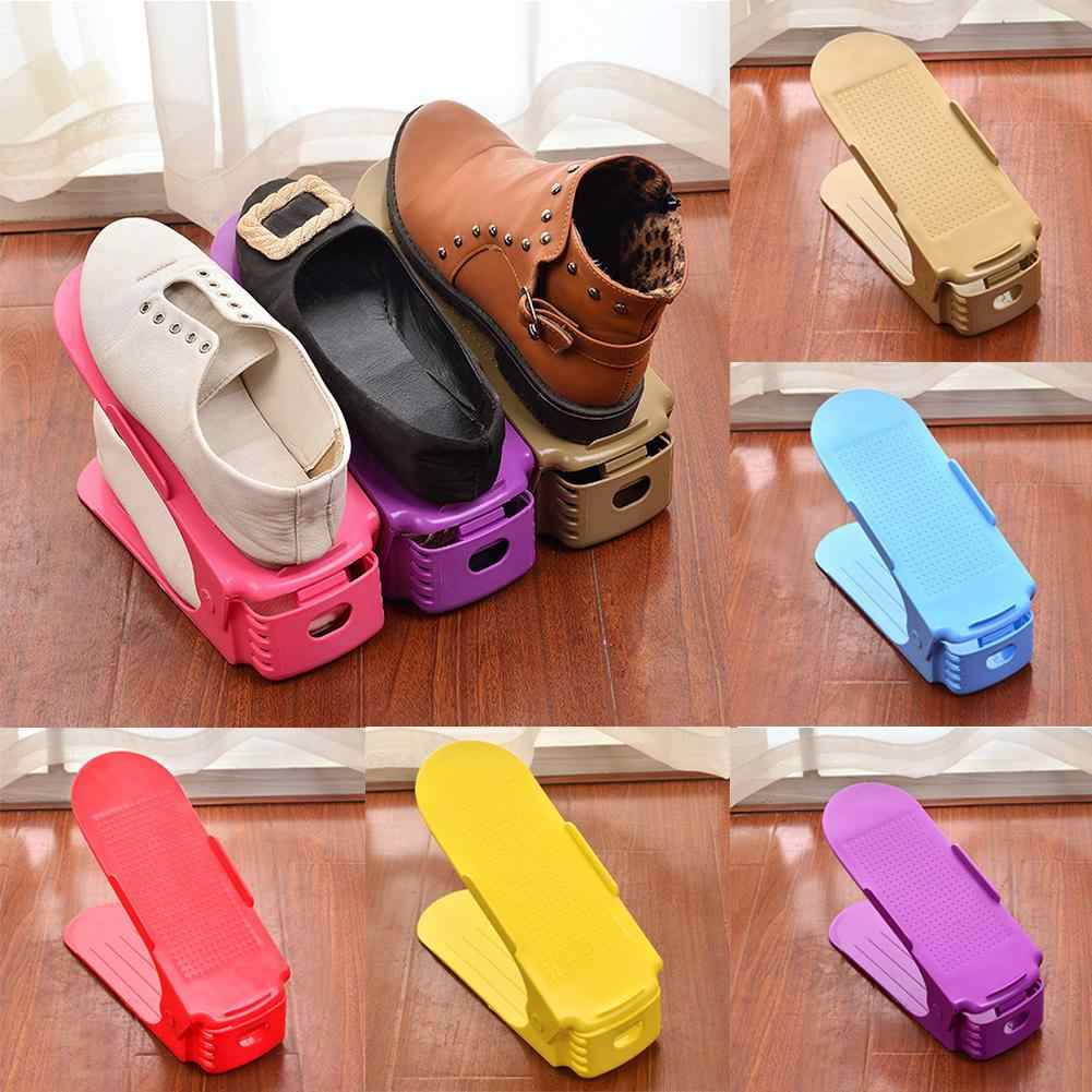 Best selling adjustable double thick shoe rack storage rack save space storage box colorful wall shelf stand bathroom shelves