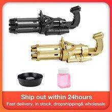 Máquina de bolha elétrica ouro preto gatling bolha arma crianças bolha automática soprando brinquedo arma ventilador função combinação