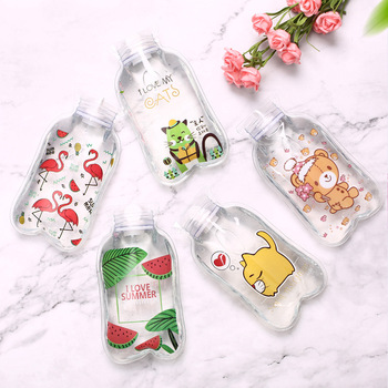 1PCs Portable Transparent Hot Water Bottle Warm Belly Treasure Cartoon Hand Warmer Filled Mini Explosion-proof Hot Water Bags image