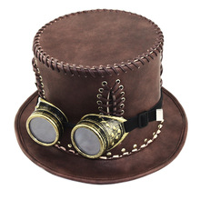 1pcs Halloween Party Cosplay Props Feather Women Steampunk Gears Retro Gentleman Men Top Decoration Hat