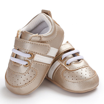 2020 Baby Shoes Newborn Boys Girls Two Striped First Walkers Kids Toddlers Lace Up PU Leather Soft Soles Sneakers 0-18 Months - 07, 13-18 Months