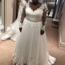 Booma A-Line Wedding dresses Elegant Lace Appliques Long Sleeve Gown Plus size White Ivory African Bride Dresses