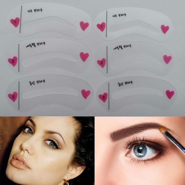 6 pieces 3 Style Eyebrow Stencil Pencils For Eyebrows Enhancer Card Template Auxiliary Beauty Fast Drawing Reusable Thrush tools 2