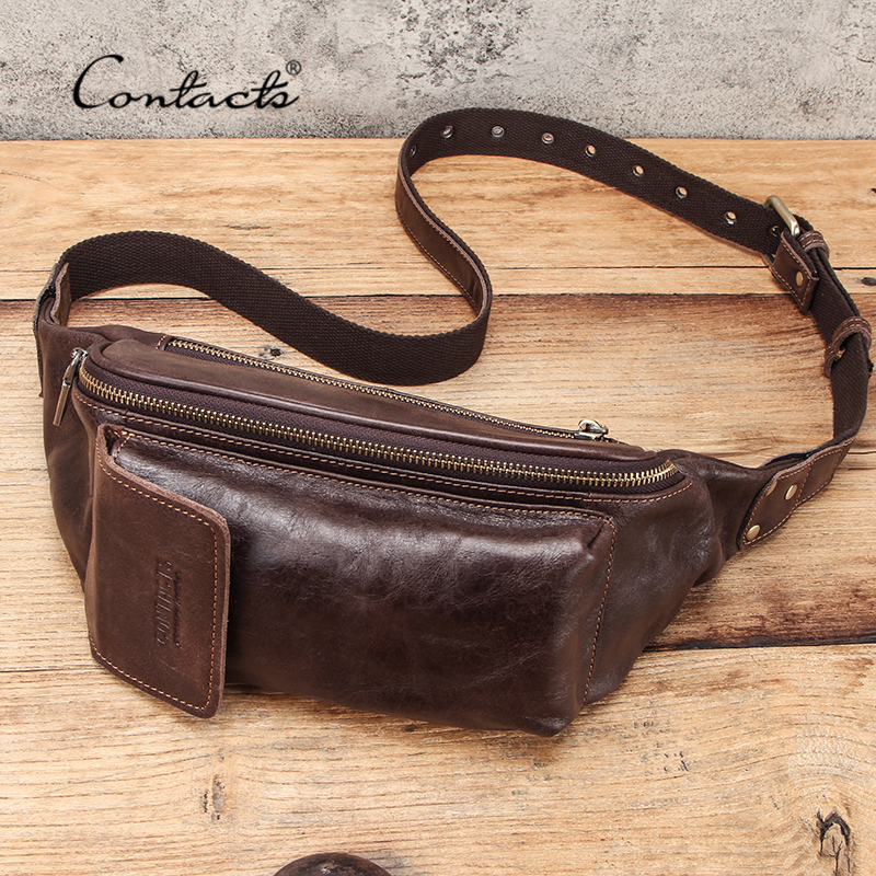 CONTACT'S Waist Belt Bag Men Genuine Leather Waist Packs Brand Organizer Travel Chest Bag Phone Pocket Casual Fanny Pack Male