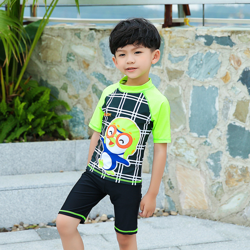 Cute Split Type Boxer Two Piece Set BOY'S Swimsuit Children CHILDREN'S Swimwear Sports Sun-resistant Swimwear
