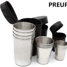 PREUP 1 набор 4 шт походная чашка из нержавеющей стали кружка для кемпинга походная Складная портативная чашка для чая, кофе, пива