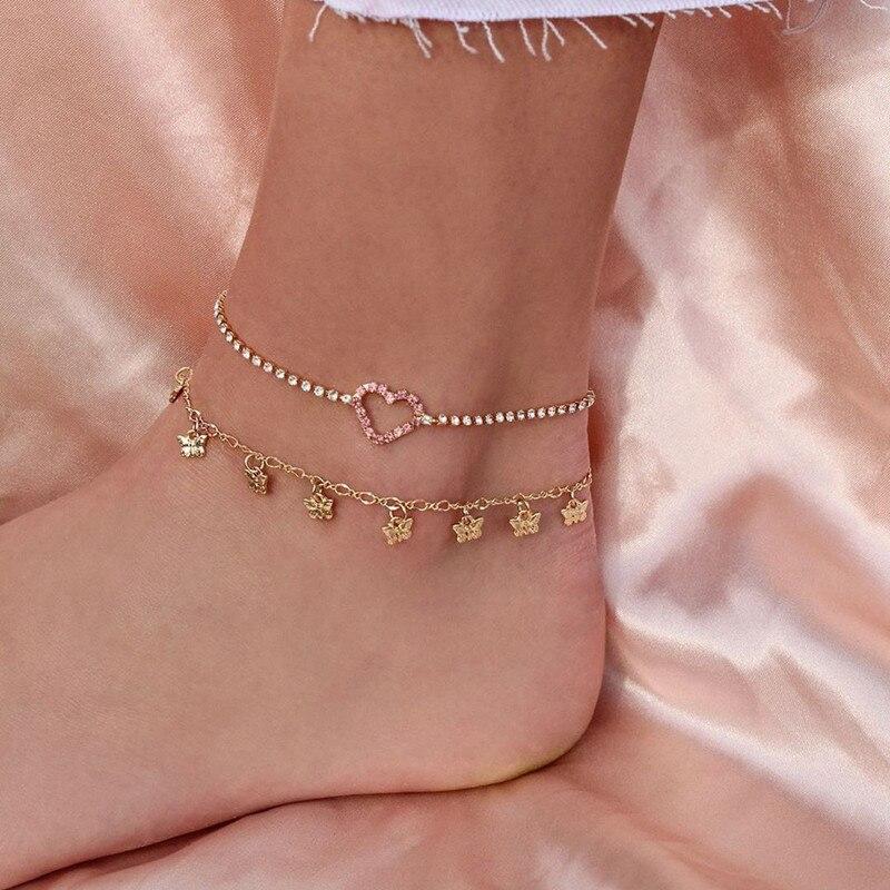 2 Pcs/Set Sweet Butterfly Pendant Anklet Bracelet Women Fashion Beach Crystal Heart Foot Chain Ankle Bracelet Jewelry Gifts