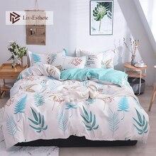 Liv-Esthete Fashion Leaf Nordic Bedding Set Comforter Duvet Cover Bedspread Flat Sheet Double Queen King Bed Linen Home Textiles