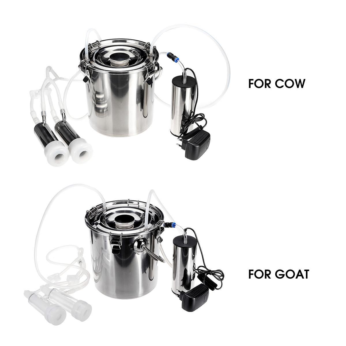 5L versión mejorada eléctrica vaca cabra oveja ordeño máquina doble bomba de vacío Cubo de acero inoxidable 220V máquinas de ordeño - 5