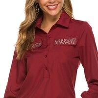 Женские блузки 2020, модная офисная рубашка с длинным рукавом и отложным воротником, блузка для отдыха, повседневные топы размера плюс, женски...