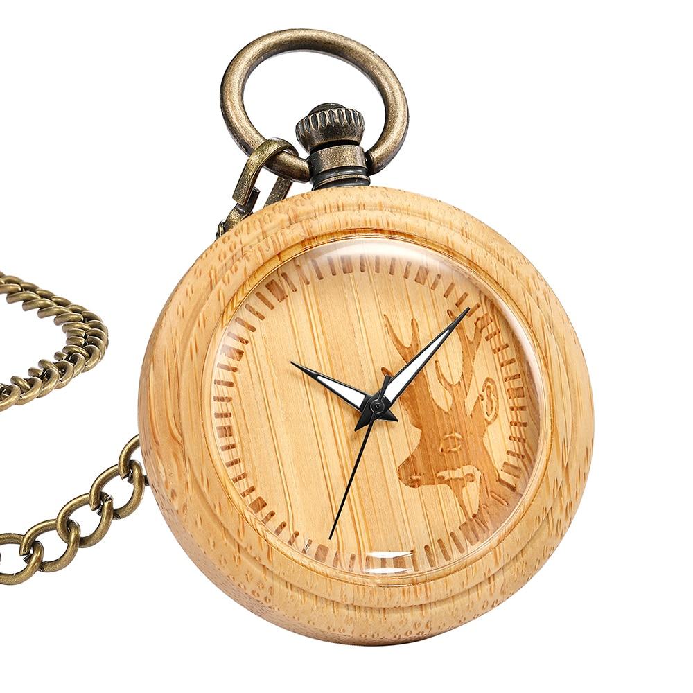 Natural Wood Pocket Watch Creative Deer Eagle Eiffel Tower Engraved Wooden Quartz Watches Fob Chain Pendants reloj de bolsillo