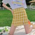 eDressU 2021 Women Plaid Skirt Short Mini A-Line High Waist Summer Skirt Yellow Pink Bottom Daily Student Casual Wear XC-999