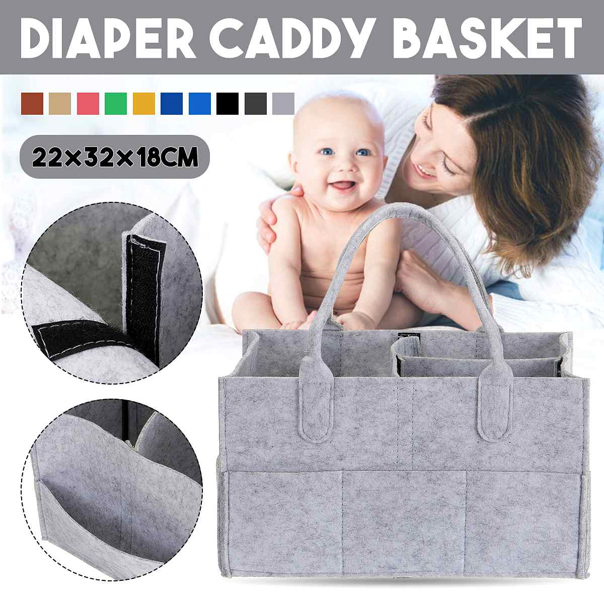 Baby Diaper Caddy Organizer Portable Felt Holder Bags For Changing Table And Car Nursery Essentials Storage Bins Carrier Bag