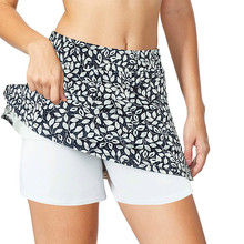 Dance-Skirt Short Yoga Fitness Workout Gym Print with Pockets Pinhole Inside Breathable